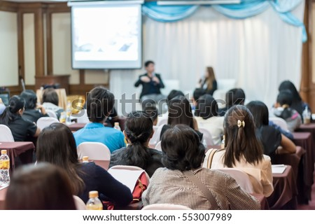 Business concept : asia people listen in business seminar presentation hall of hotel room,selective focus. #553007989