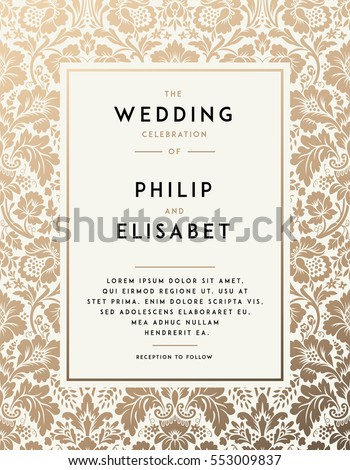 Vintage Wedding Invitation template. Modern design. Wedding Invitation design with damask background. Tradition decoration for wedding. Vector illustration Royalty-Free Stock Photo #553009837