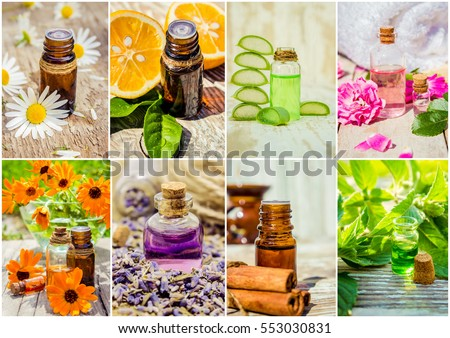 collage of herbs and essential oil.  #553030831