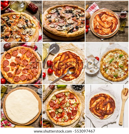 Food collage of pizza. #553097467