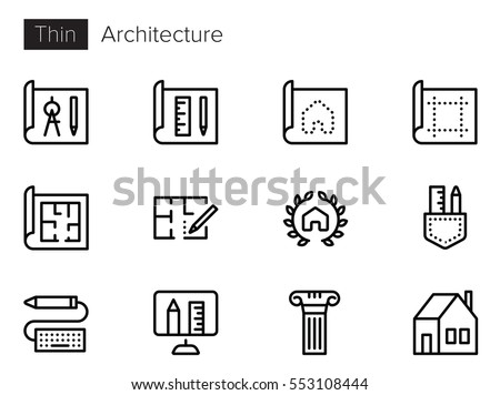 Architecture Line Vector icons set Royalty-Free Stock Photo #553108444
