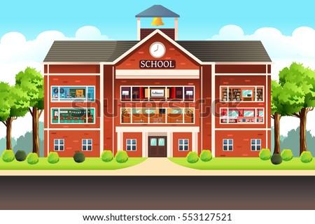 A vector illustration of school building