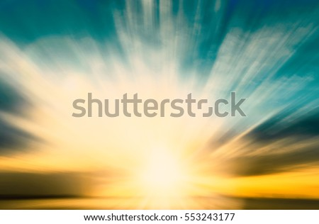 Magic blur bokeh nature morning sunshine on summer sky background concept - peaceful event christian religion, love holy spirit faith, people hope in easter, scenery of ramadan peace sunset technology Royalty-Free Stock Photo #553243177