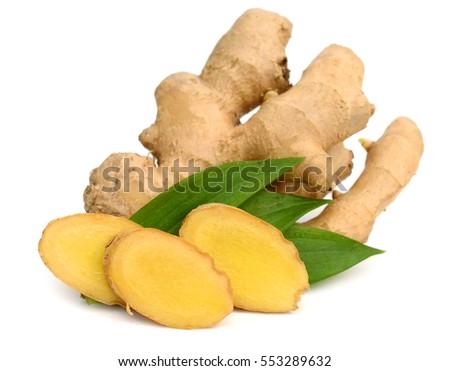fresh ginger on a white background #553289632