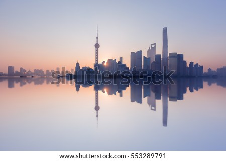 Morning, Shanghai, China Pudong building skyline, China's most prosperous urban groups