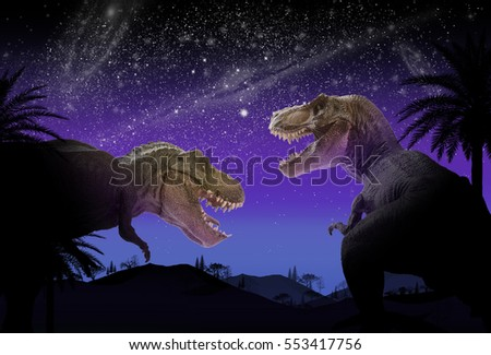 dinosaur flat art night mountain landscape with stars and bright moon