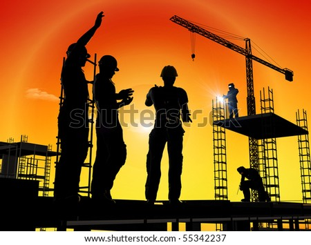 Group of the workers on a background of the sky #55342237