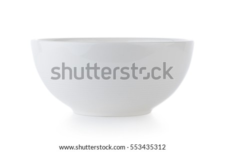 white ceramics bowl isolated on white background Royalty-Free Stock Photo #553435312