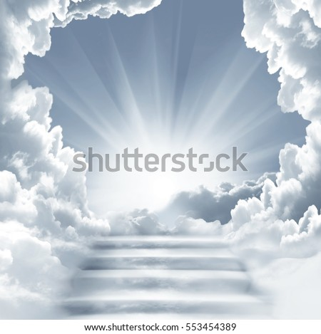 Stairway to Heaven.Stairs in sky.  Concept with sun and white clouds.Concept  Religion  background.