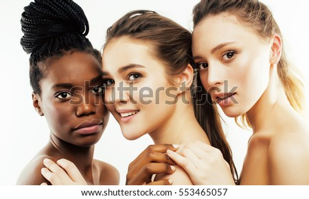 three different nation woman: african-american, caucasian together isolated on white background happy smiling, diverse type on skin, lifestyle people concept #553465057