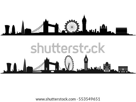 London Skyline Silhouette in black and white Royalty-Free Stock Photo #553549651