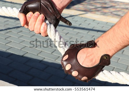 hand, rope, gloves #553561474