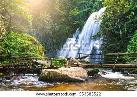 Pha dok siew waterfall in deep forest Chiang Mai Thailand