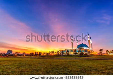 The Long Exposure Picture Of Great Mosque With The Golden Sunset As A Background #553638562