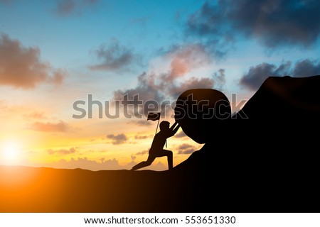 Silhouette businessman patience hard work and the pressure to reach the finish line over blurred natural Motivate employee growth concept. Royalty-Free Stock Photo #553651330