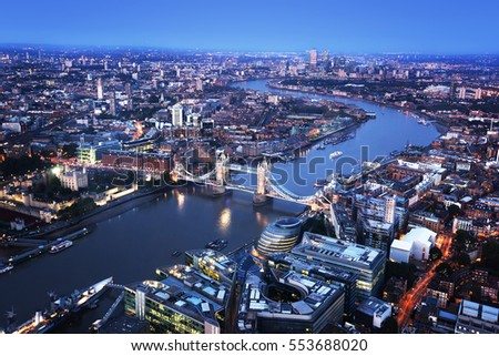 London aerial view with Tower Bridge, UK #553688020