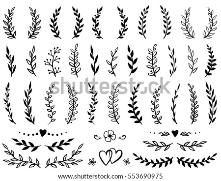 vintage set of hand drawn tree branches with leaves and flowers on white background