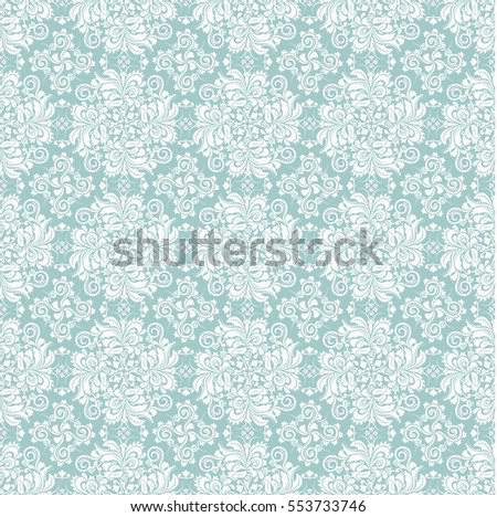 Seamless green background with white pattern in baroque style. Vector retro illustration.  Ideal for printing on fabric or paper.   #553733746