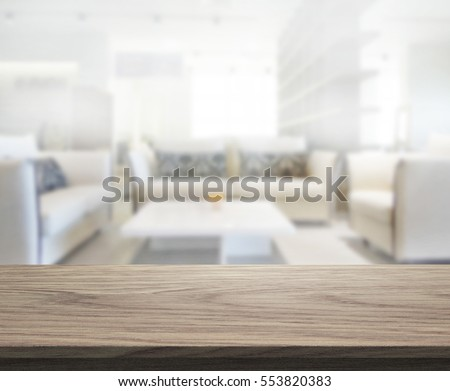 Table Top And Blur Living Room Of The Background #553820383