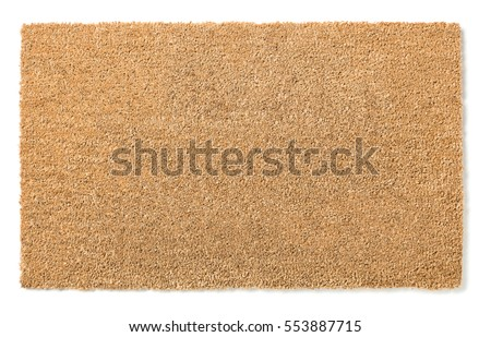 Blank Home Sweet Home Welcome Mat Isolated on a White Background Ready For Your Own Text. Royalty-Free Stock Photo #553887715