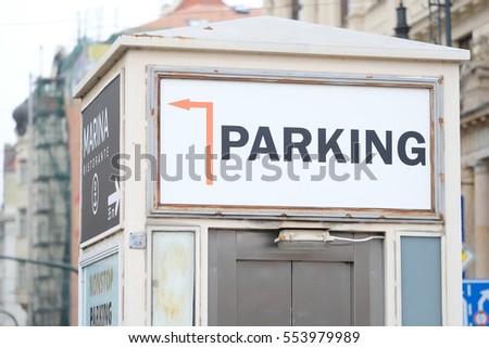 Prague, Czechia - November, 21, 2016: signboard in Prague, Czechia #553979989