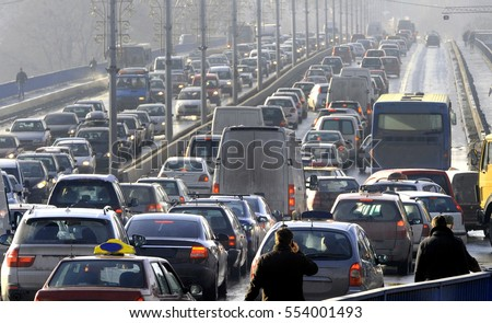 Traffic jam in the rush hour Royalty-Free Stock Photo #554001493