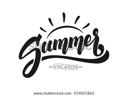 Vector illustration: Brush lettering composition of Summer Vacation isolated on white background. Royalty-Free Stock Photo #554025862