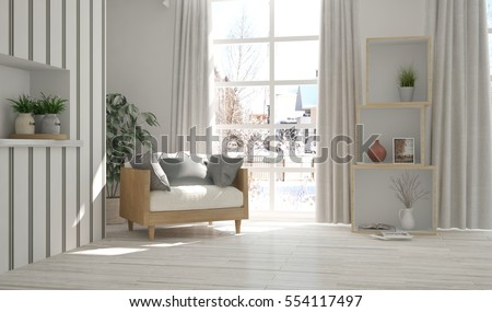 White room with armchair and winter landscape in window. Scandinavian interior design. 3D illustration #554117497