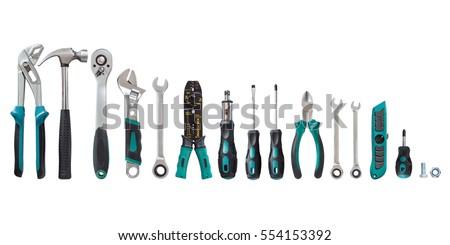 set of tools, Many tools isolated on white background. Royalty-Free Stock Photo #554153392