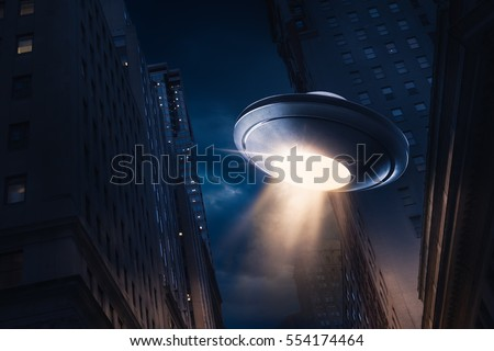 high contrast image of UFO over a city at night with light rays / view from below Royalty-Free Stock Photo #554174464