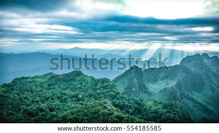 Green mountains and sunlight most cloudy in the sky , Chiangmai #554185585