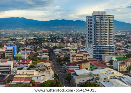 San Jose Costa rica capital city street view with mountains in the back