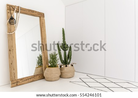 White room with mirror with wooden frame and decorative cactus Royalty-Free Stock Photo #554246101