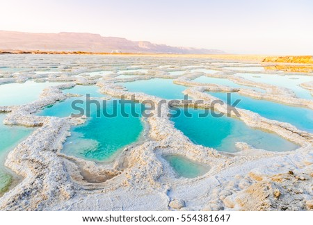 View of Dead Sea coastline. Salt crystals at sunset. Texture of Dead sea. Salty sea shore #554381647