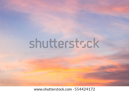 Evening Sky,Amazing Sunset Colorful Cloud Background,Fantastic Nature and Dramatic bright Sunlight,Dark Cloudy sky Twilight on Summer,Beautiful Color Idyllic Sky Cloud,Dusk sky peaceful sundown Royalty-Free Stock Photo #554424172
