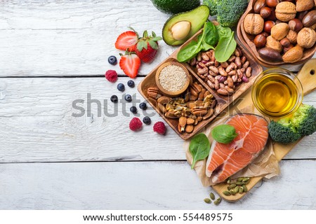 Selection of healthy food for heart, life concept #554489575