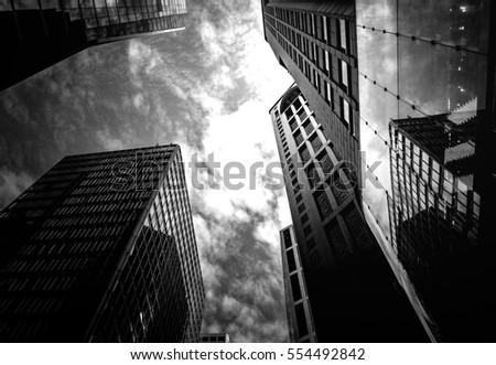 windows of  commercial building in Hong Kong with B&W color  #554492842