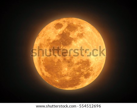 The yellow full moon on black background for your night and dark design concept. High Quality of full moon photo.