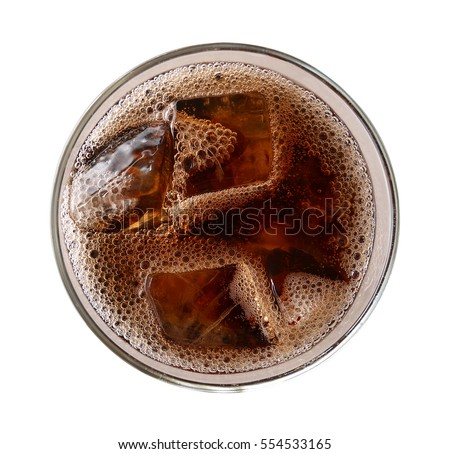 Cola with ice cubes in glass top view isolated on white background, clipping path included #554533165
