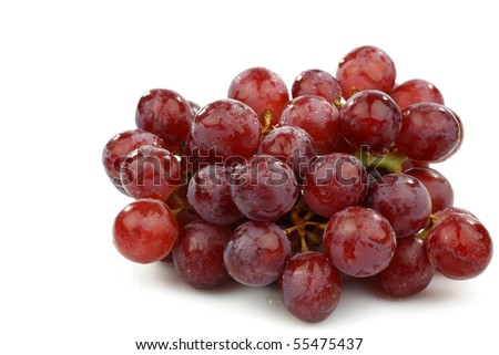 bunch of red grapes on a white background #55475437