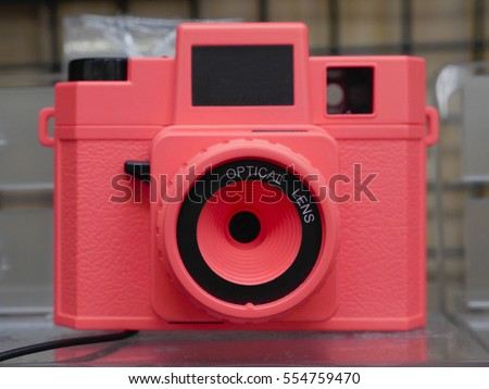 Plastic toy lens camera red body