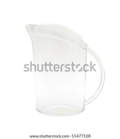 transparent clear plastic fridge door pitcher isolated on white #55477108