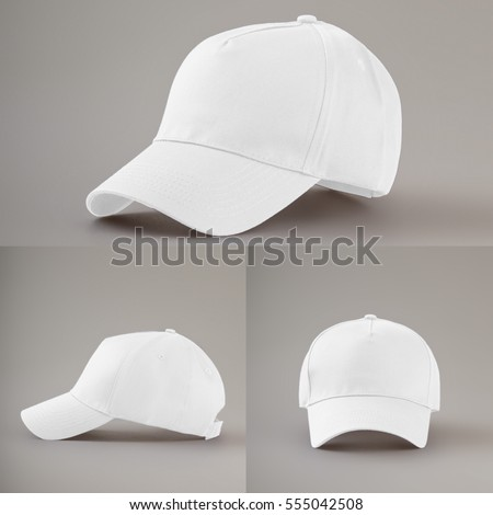 Group of the white fashion caps #555042508