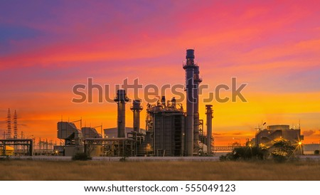 Power plant,Energy power station area at Sunrise with cloudy sky #555049123