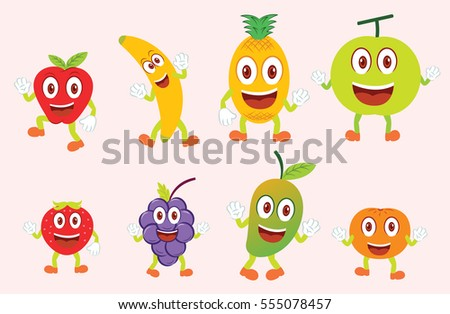 Eight Funny Colorful Fruits Character in a Set or Collection. Apple, Banana, Pineapple, Melon, Strawberry, Grapes, Mango and Orange Cartoon Illustration. Each on Separate Layer. #555078457