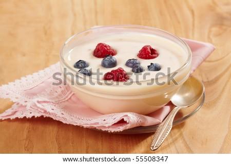 yogurt with fresh berries #55508347