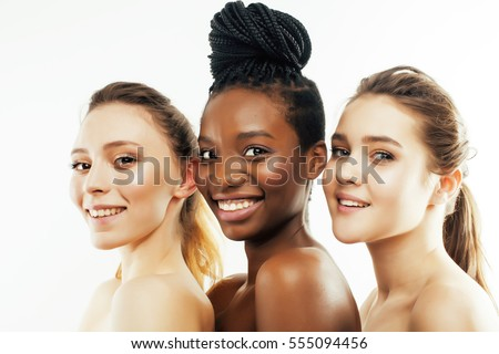 three different nation woman: african-american, caucasian together isolated on white background happy smiling, diverse type on skin, lifestyle people concept #555094456