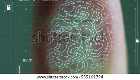 scan fingerprint biometric identity and approval. concept of the future of security and password control through fingerprints in an advanced technological future and cybernetic #555161794