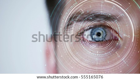 human being futuristic vision, vision and control and protection of persons, control and security in the accesses.Concept of: dna system, scientific technology and science. Royalty-Free Stock Photo #555165076