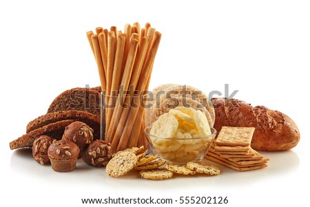 Gluten free food. Various snacks and bread isolated on white background. Royalty-Free Stock Photo #555202126